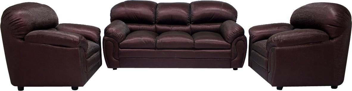 Woodpecker Jasmine Solid Wood 3 + 1 + 1 Brown Sofa Set