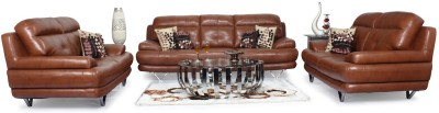 Homecity Leatherette 3 + 2 + 2 Brown Sofa Set(Configuration - Straight)