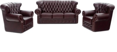 Furnicity Leatherette 3 + 1 + 1 Maroon Sofa Set(Configuration - Straight)