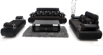 Furnicity Leatherette 3 + 2 + 1 Black Sofa Set(Configuration - Straight)