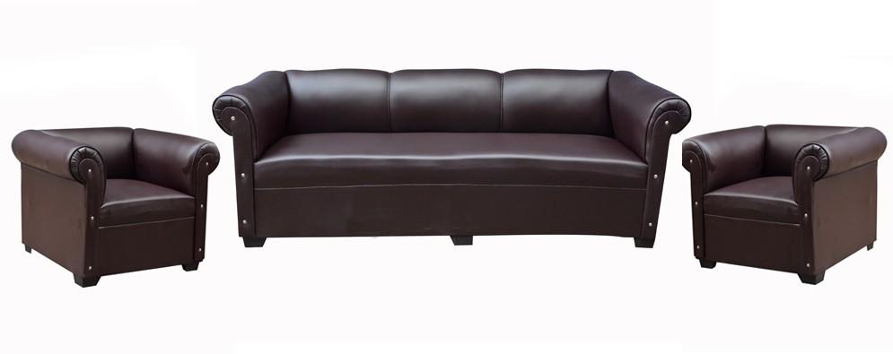 View Designo Leatherette 3 + 1 + 1 Brown Sofa Set(Configuration - Straight) Furniture (Designo)