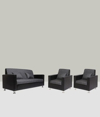 Westido Solid Wood 3 + 1 + 1 Black Sofa Set
