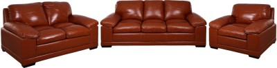Evok Half Leather Alison Sofa Set 3+2+1 Seater In Caramel Colour Half-leather 3 + 2 + 1 Caramel Sofa Set