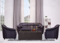Durian BERRY/55001/C Leatherette 3 + 1 + 1 COFFEE BROWN Sofa Set(Configuration - Straight)