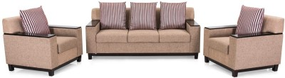 IDEAWOODS Classy Solid Wood 3 + 1 Brown Sofa Set