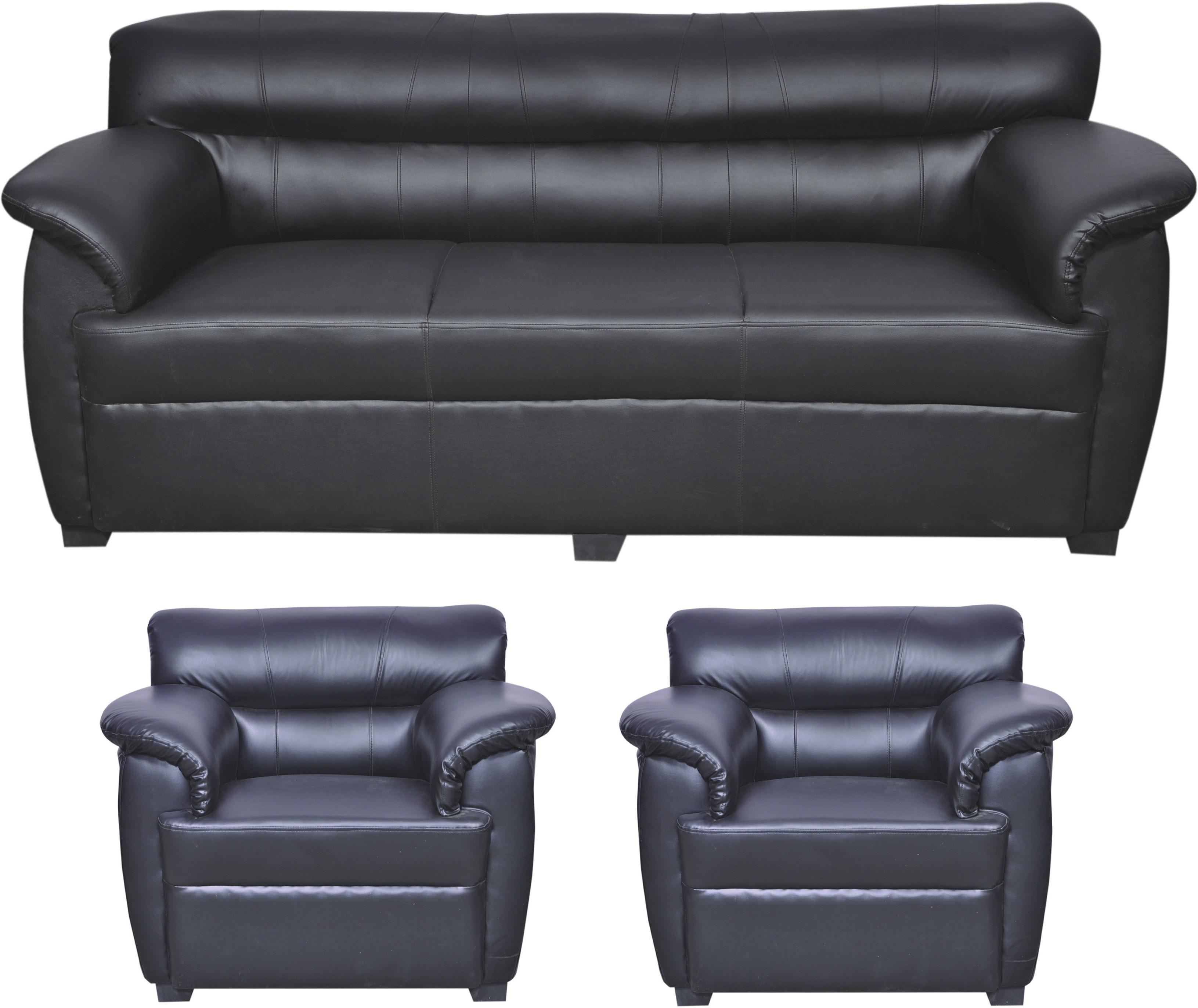 View HOMESTOCK Solid Wood 3 + 1 + 1 Black Sofa Set(Configuration - Straight) Furniture (HOMESTOCK)