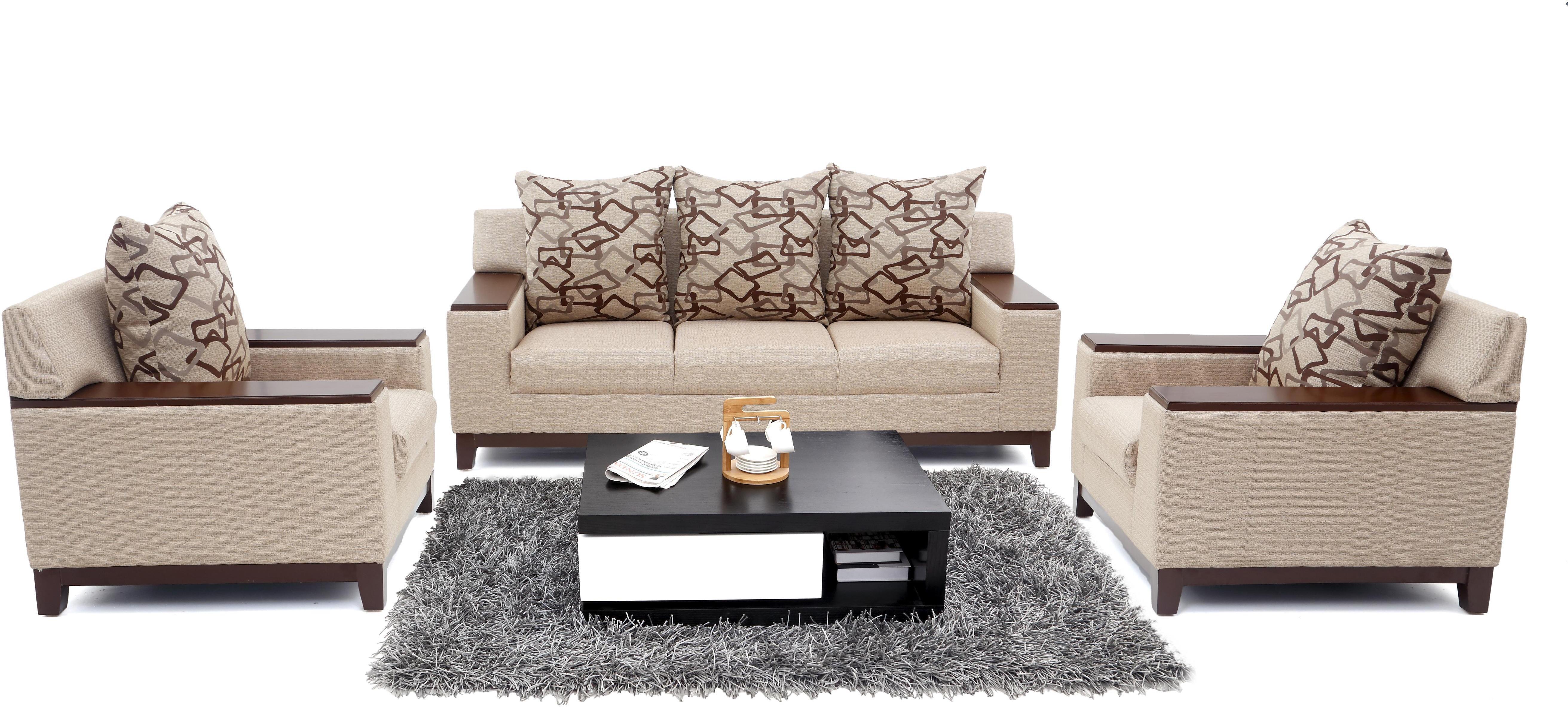 Furnicity Fabric 3 1 1 Beige Sofa Set Configuration