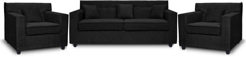 Dolphin Solitaire Fabric 2 + 1 + 1 Black Sofa...