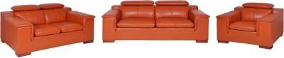 Evok Madrid Sofa Set 3 + 2 + 1 Seater in Brown Leatherette 3 + 2 + 1 Cherry Sofa Set