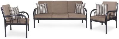 FurnitureKraft Metal FK8078 with Grey Mattress Metal 3 + 1 + 1 Black Sofa Set(Configuration - Straight)