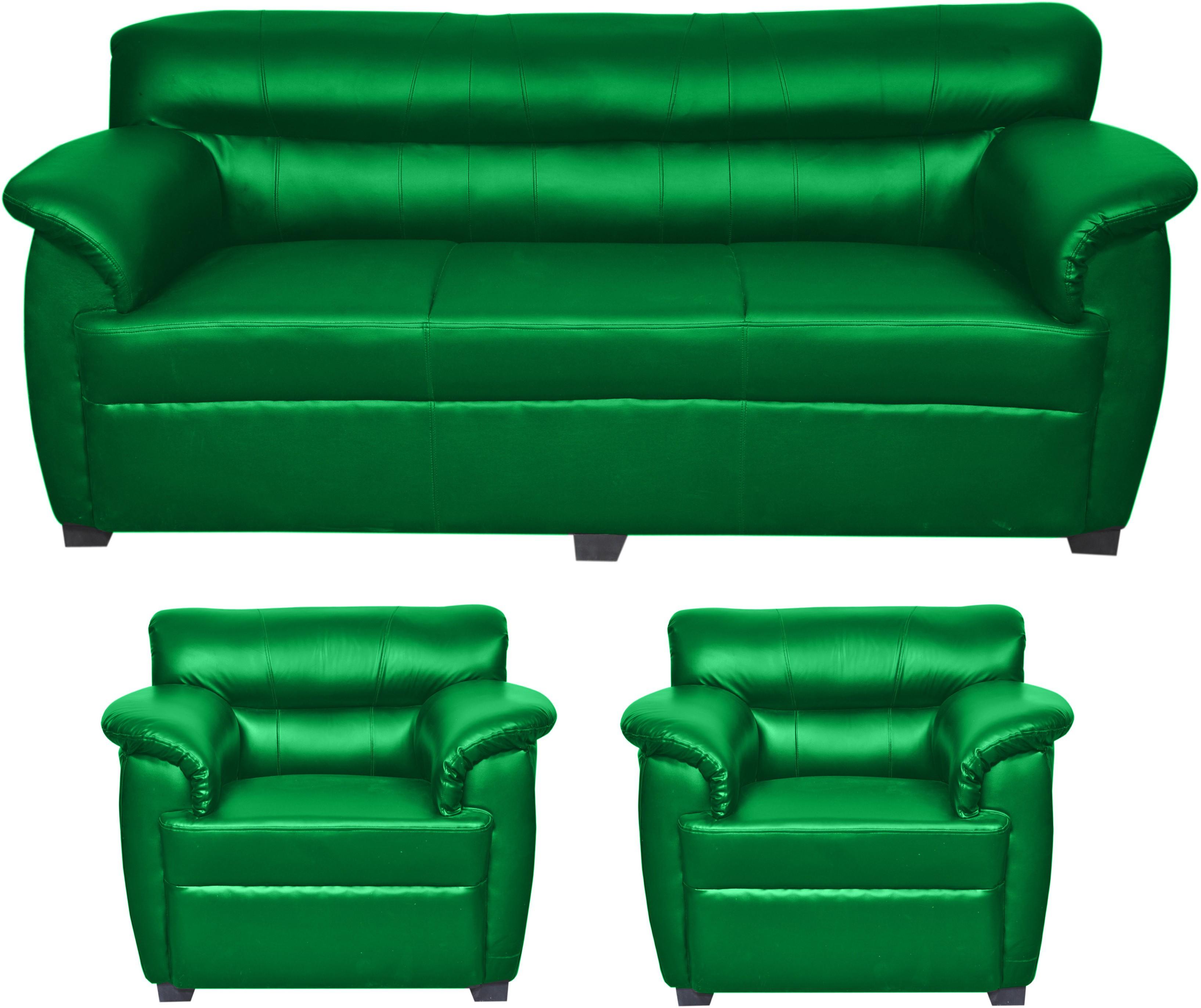 View HOMESTOCK Solid Wood 3 + 1 + 1 Green Sofa Set(Configuration - Straight) Furniture (HOMESTOCK)