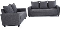 Furnicity Fabric 3 + 2 Grey Sofa Set(Configuration - Straight)