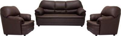 Woodpecker Tulip Solid Wood 3 + 1 + 1 Brown Sofa Set