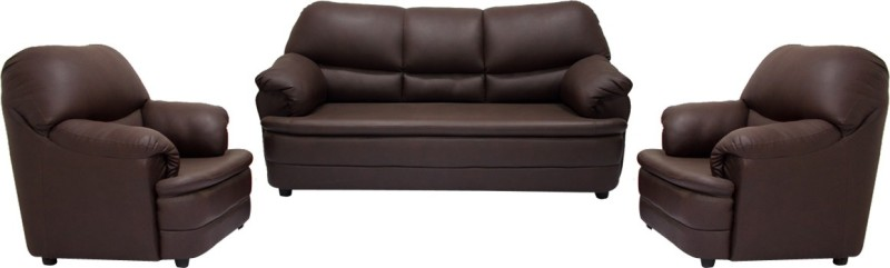 Woodpecker Tulip Solid Wood 3 + 1 + 1 Brown Sofa Set(Configuration - U-Shaped)