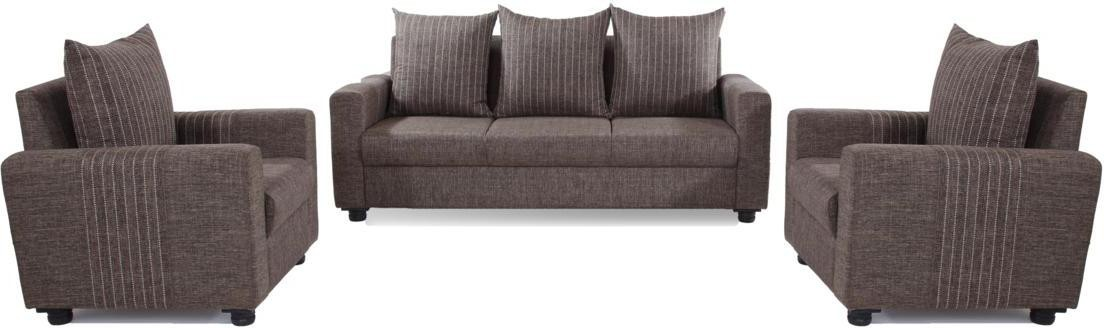 Furnicity Solid Wood 3 + 1 + 1 Brown Sofa Set
