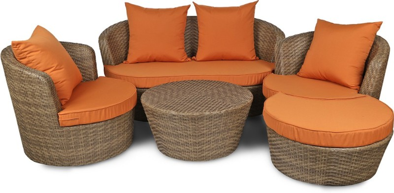 Svelte Classy Metal 2 + 1 + 1 Brown Sofa Set(Configuration - Straight)
