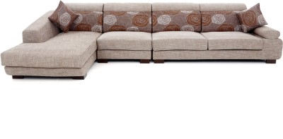 Furnicity Fabric 3 + 1 Beige Sofa Set(Configuration - L-Shaped)