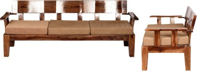 Induscraft Solid Wood 3 + 2 Brown Sofa Set