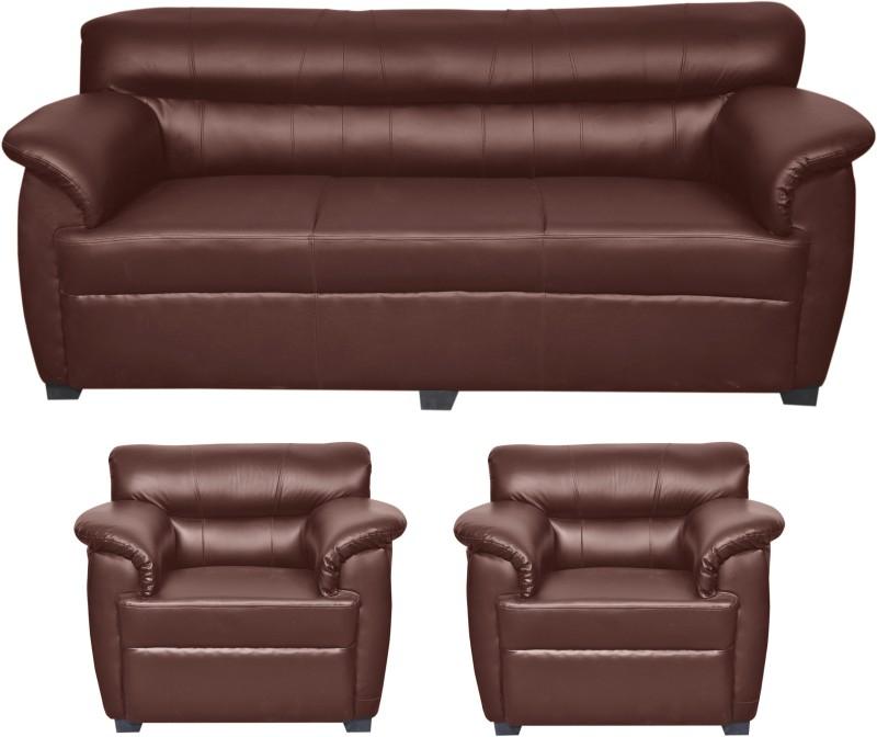 HOMESTOCK Leatherette 3 + 1 + 1 Brown Sofa Set(Configuration - Straight)