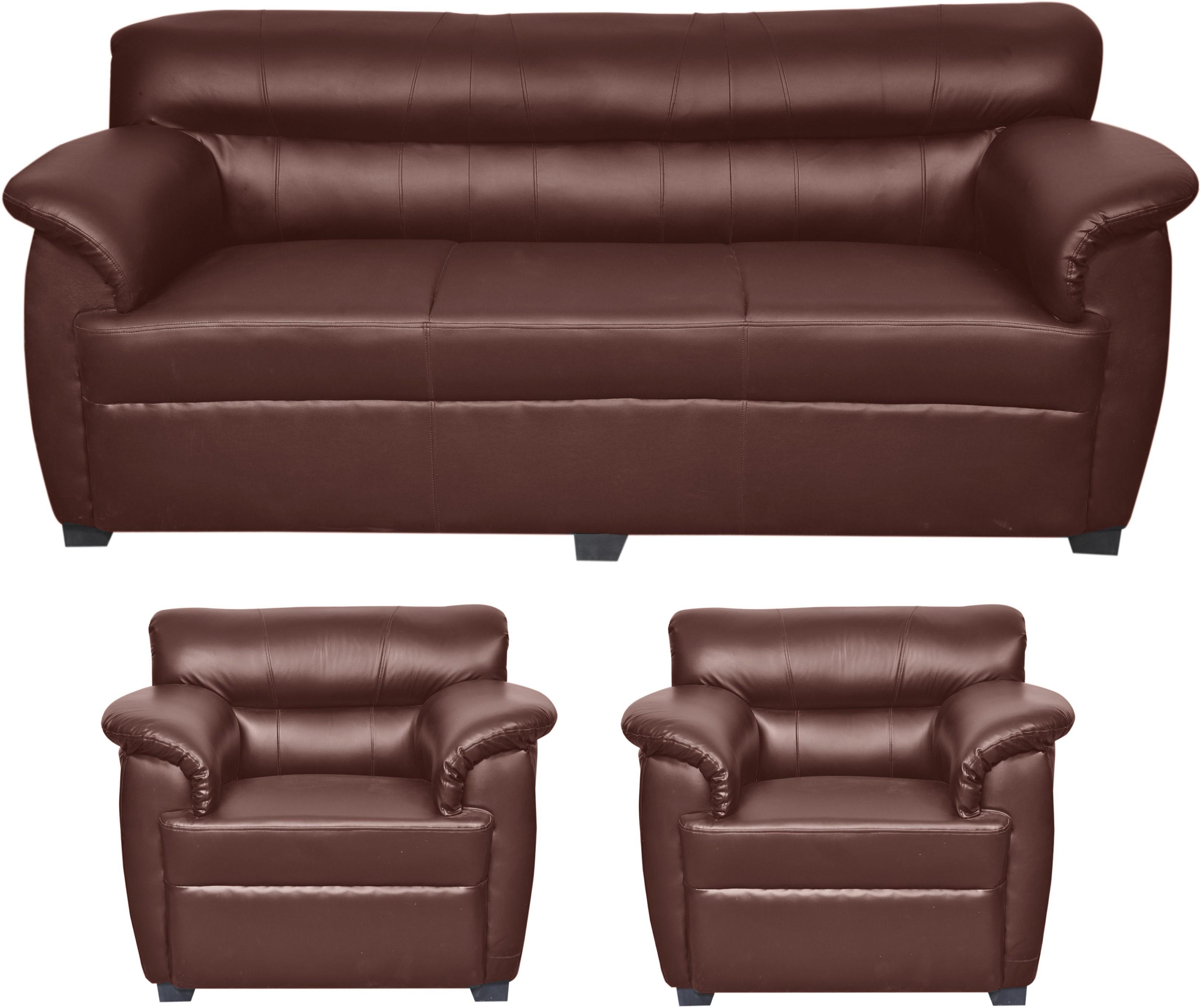 View HOMESTOCK Solid Wood 3 + 1 + 1 Brown Sofa Set(Configuration - Straight) Furniture (HOMESTOCK)
