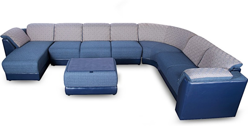 Godrej Interio Broadway Fabric 3 + 2 + 1 + 1 Ink Blue Sofa Set(Configuration - Modular)