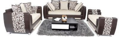 Furnicity Leatherette 3 + 2 + 1 Beige Sofa Set(Configuration - Straight)
