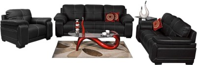 Homecity GLORIA Leatherette 3 + 2 + 1 Black Sofa Set(Configuration - Straight)