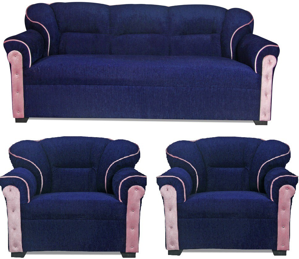 View HOMESTOCK Fabric 3 + 1 + 1 Blue Sofa Set(Configuration - Straight) Price Online(HOMESTOCK)