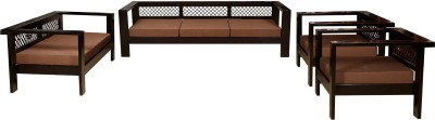 Induscraft Solid Wood 3 + 2 + 1 + 1 Brown Sofa Set