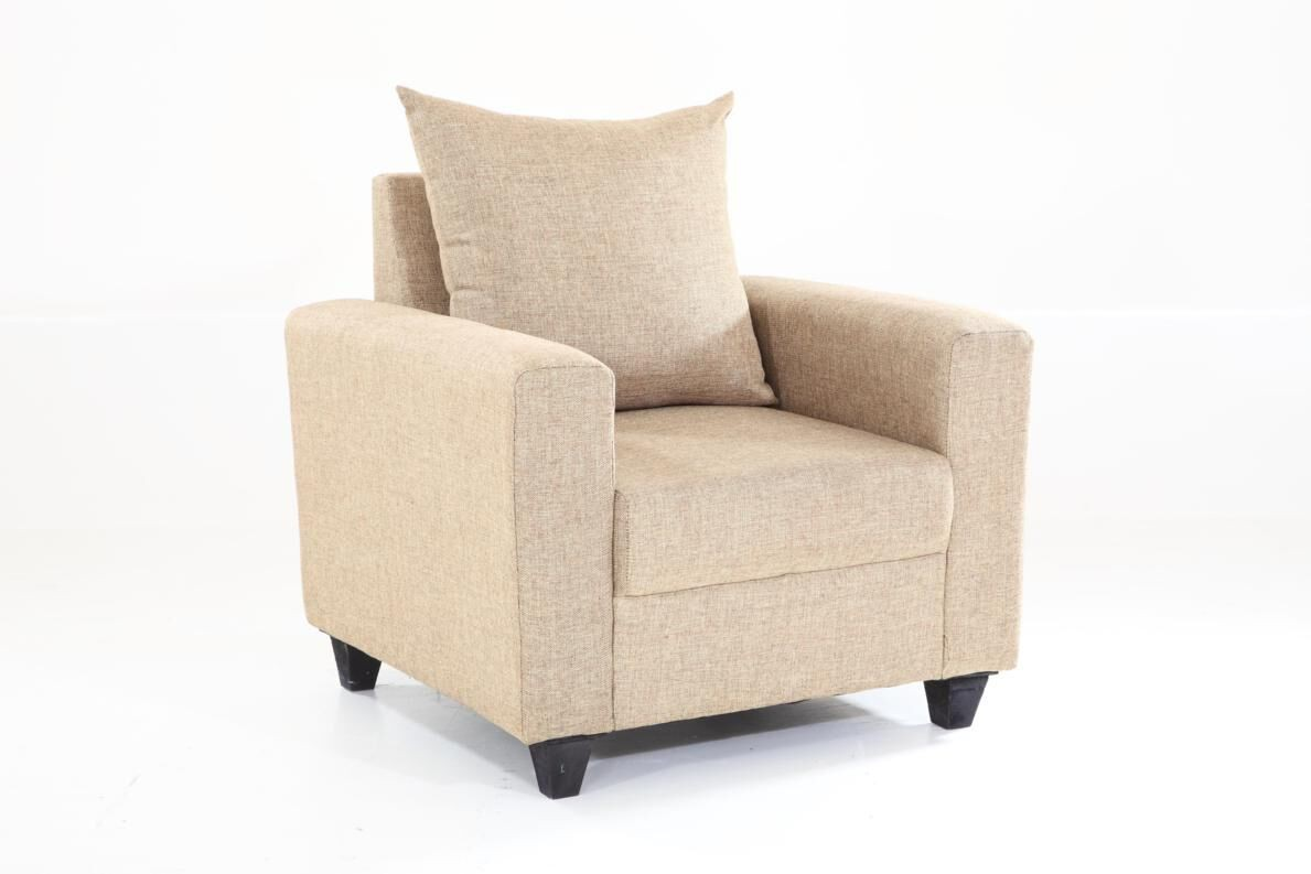 Furnicity Solid Wood 3 + 1 + 1 Beige Sofa Set