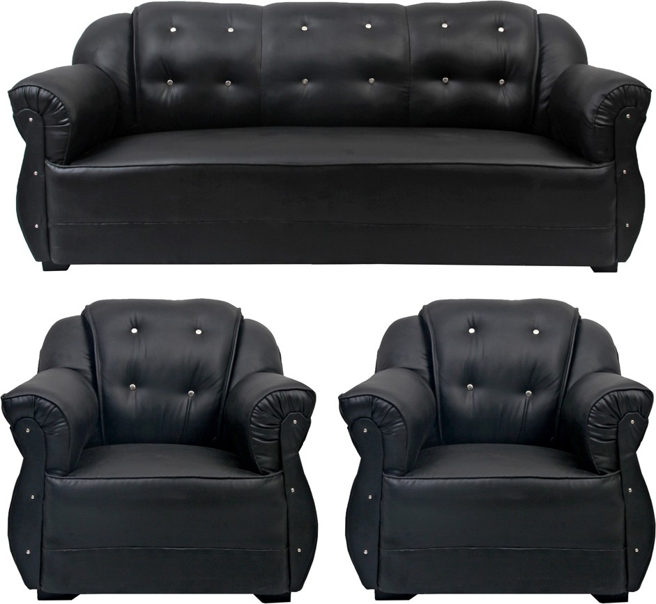View HOMESTOCK Leatherette 3 + 1 + 1 Black Sofa Set(Configuration - Straight) Price Online(HOMESTOCK)