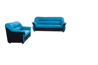 Furnicity Solid Wood 3 + 2 Blue Sofa Set(Configuration - Straight)