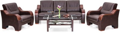 IDEAWOODS Classy Solid Wood 3 + 2 + 1 Brown Sofa Set