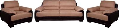 Evok Fabric Elisa Sofa Set 3+1+1 Seater In Dark Brown & Beige Colour Fabric 3 + 1 + 1 Beige Sofa Set