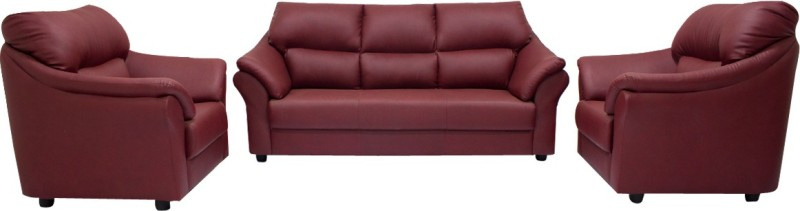 Woodpecker Lotus Solid Wood 3 + 1 + 1 Burgundy Sofa Set(Configuration - U-Shaped)