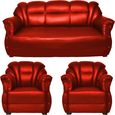 Marvelous HOMESTOCK Solid Wood 3 + 1 + 1 Red Sofa Set(Configuration   Straight)