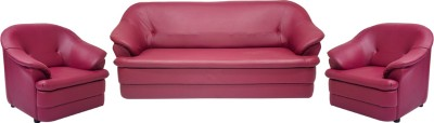 Woodpecker Leatherette 3 + 1 + 1 Maroon Sofa Set