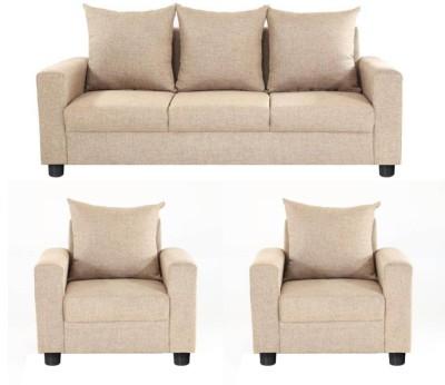 GIOTEAK Solid Wood 3 + 1 + 1 CREAM Sofa Set(Configuration - 3+1+1)