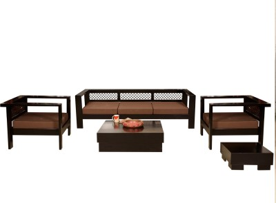 Induscraft Solid Wood 3 + 1 + 1 Brown Sofa Set