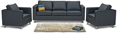 Godrej Interio Cabro Sofa Set Solid Wood 3 + 1 + 1 Black Sofa Set(Configuration - Straight)
