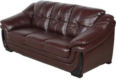 IDEAWOODS Classy Solid Wood 2 + 1 Brown Sofa Set