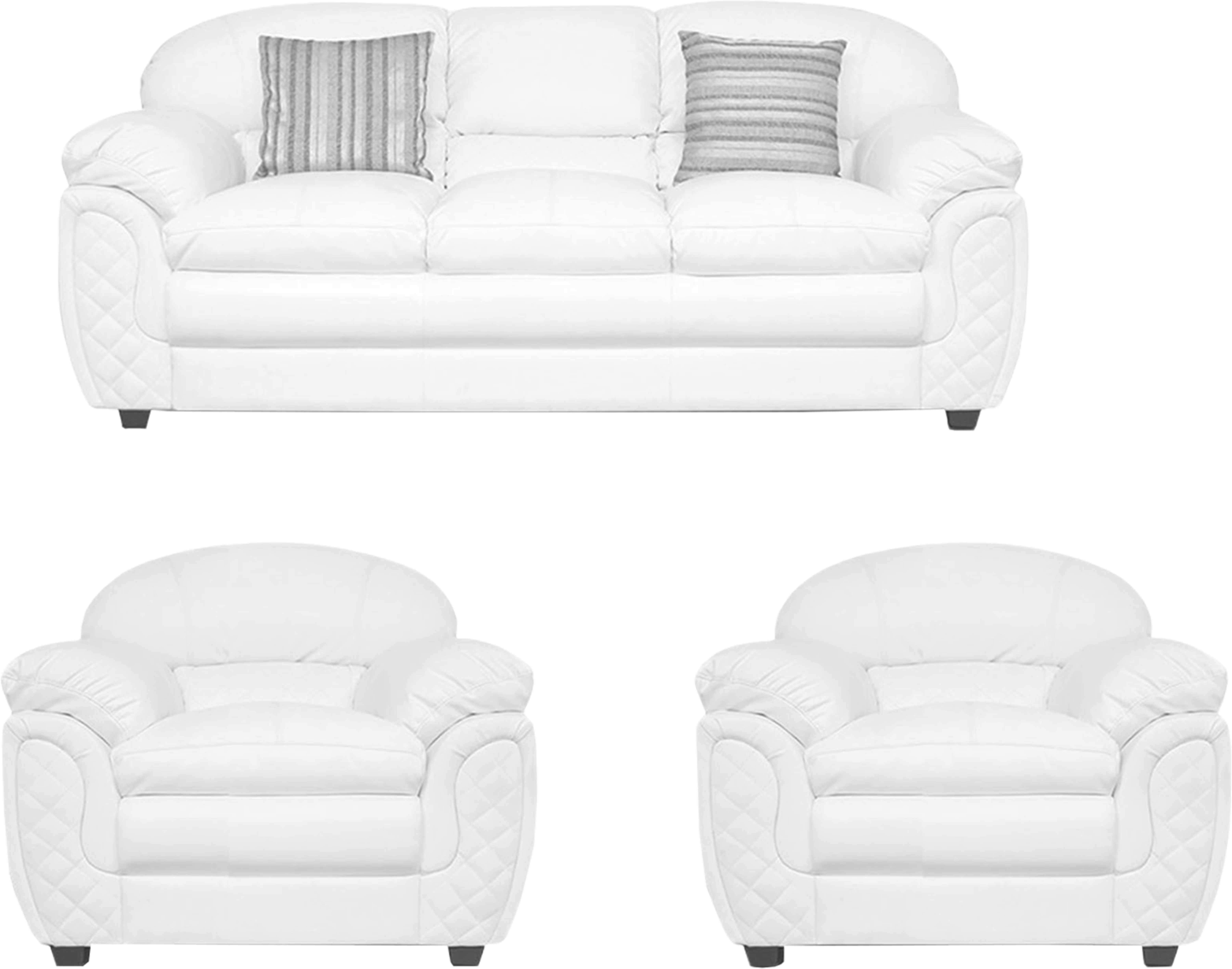 View ELEGANT FURNITURE Leatherette 3 + 1 + 1 WHITE Sofa Set(Configuration - PRE ASSEMBELED) Furniture (ELEGANT FURNITURE)