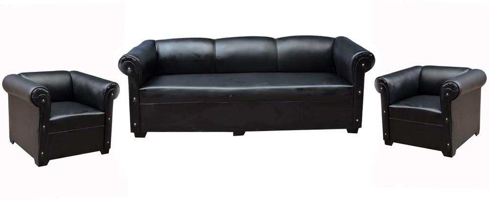View Designo Leatherette 3 + 1 + 1 Black Sofa Set(Configuration - NA) Furniture (Designo)