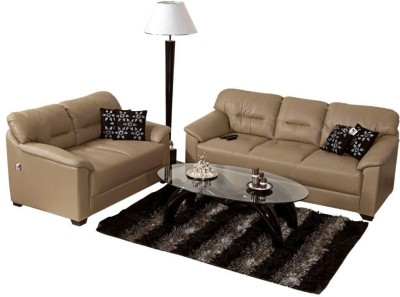 Homecity MIRLY Leatherette 3 + 2 Beige Sofa Set(Configuration - Straight)