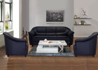 Durian BERRY/55001/A Leatherette 3 + 1 + 1 EERIE BLACK Sofa Set(Configuration - Straight)