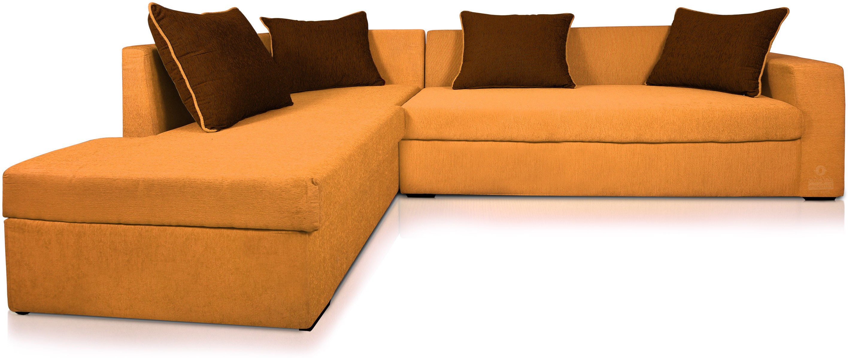 View Dolphin Fabric 3 + 2 Orange-Brown Sofa Set(Configuration - L-shaped) Furniture (Dolphin)