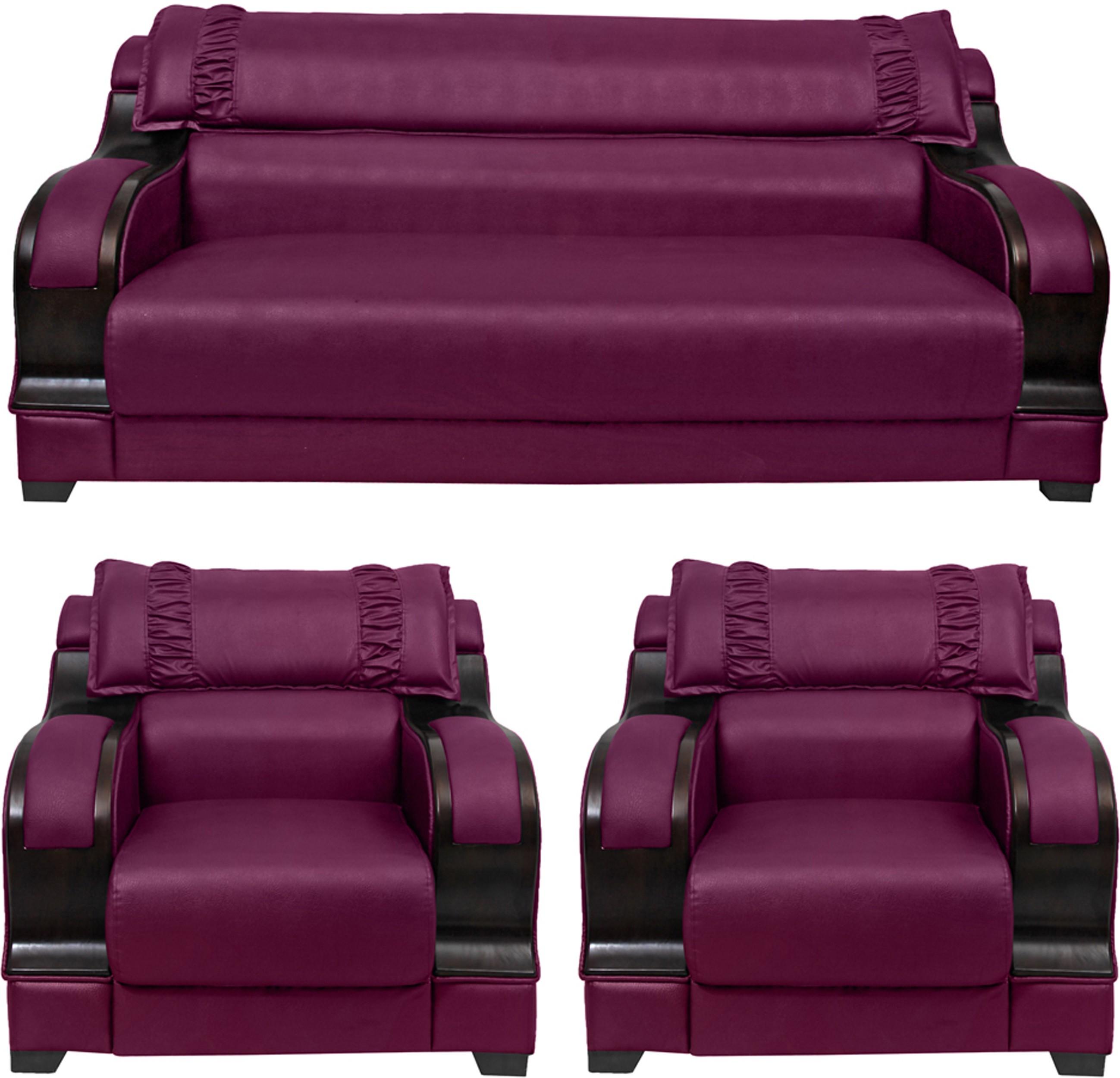 HOMESTOCK Solid Wood 3 + 1 + 1 Purple Sofa Set(Configuration - Straight)