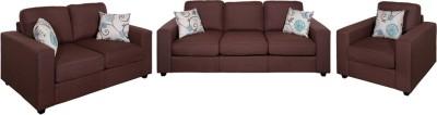 Evok Fabric Fabio Sofa Set 3+2+1 Seater In Chocolate Colour Fabric 3 + 2 + 1 Chocolate Sofa Set