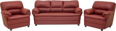 Wood pecker Leatherette 3 + 1 + 1 Maroon Sofa Set