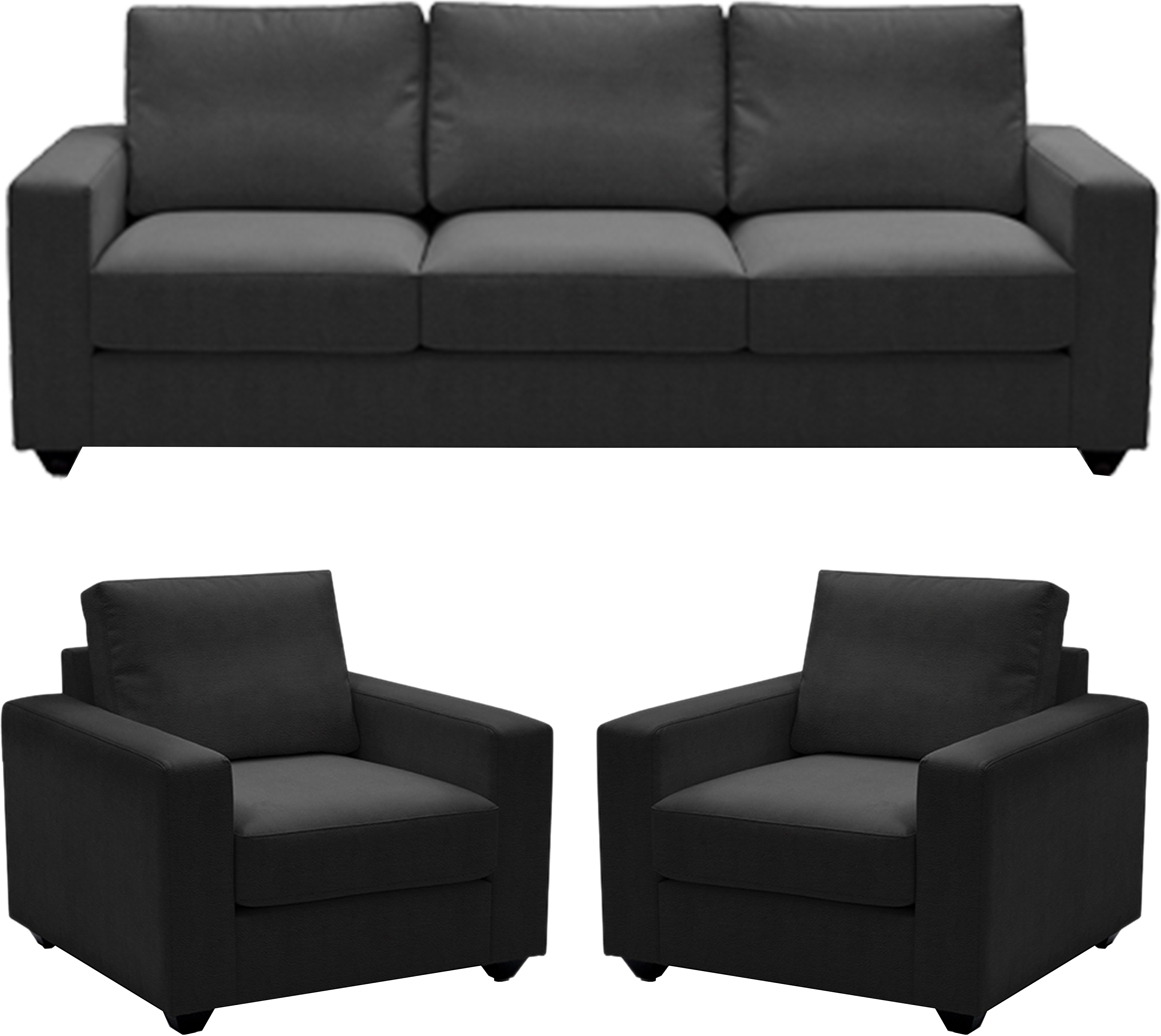 View ELEGANT FURNITURE Leatherette 3 + 1 + 1 DARK GREY Sofa Set(Configuration - STRAIGHT) Furniture (ELEGANT FURNITURE)